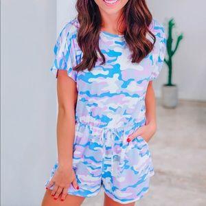 💙New Boutique Camo Vibrant Blue/Purple Romper